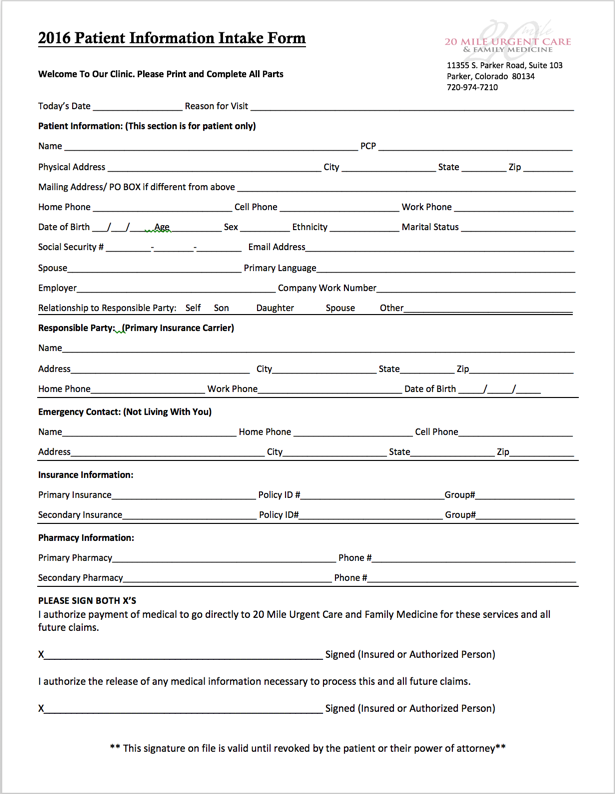 Download Patient Intake Form
